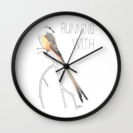 Running With Scissors (Scissor-tailed Flycatcer) Wall Clock