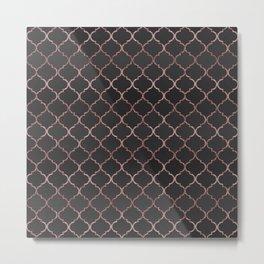 Rose gold faux glitter quatrefoil pattern Metal Print
