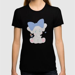 Elephant Cute Animals Blue Elephants For Kids T-shirt