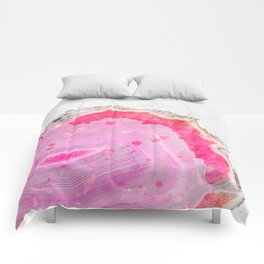 Pink Agate Watercolor Comforters