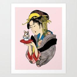 Tea Time with Corgi Art Print