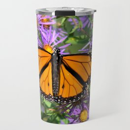 Monarch Butterfly on Wild Aster Flowers Travel Mug