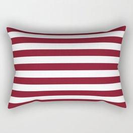 Deep Dark Red Pear and White Horizontal Beach Hut Stripe Rectangular Pillow