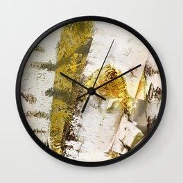 Rustic Gold Knot Close-Up Birch Wall Clock