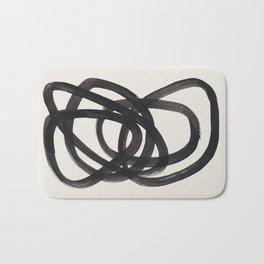 Mid Century Modern Minimalist Abstract Art Brush Strokes Black & White Ink Art Spiral Circles Bath Mat