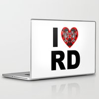 roller derby Laptop & iPad Skins featuring I heart roller derby by Andrew Mark Hunter
