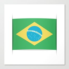 Flag of Brazil. The slit in the paper with shadows. Canvas Print