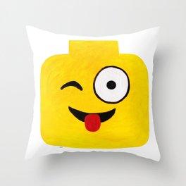 Winking Smile - Emoji Minifigure Painting Throw Pillow