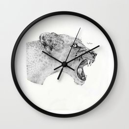 Dotwork Lioness Wall Clock