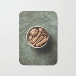 Set of spices on rustic background Bath Mat