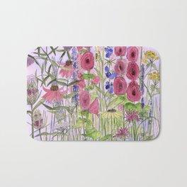 Watercolor Wildflower Garden Flowers Hollyhock Teasel Butterfly Bush Blue Sky Bath Mat