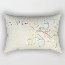 Minimal Paris Subway Map Rectangular Pillow