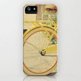 Home is where my yellow bike is iPhone Case