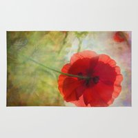 fairytale Area & Throw Rugs featuring Fairytale Poppy by Teresa Pople