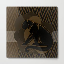 The Roaring Black Panther by IxCO Metal Print
