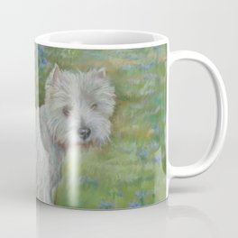 Westie on the meadow West Highland White Terrier Cute dog portrait on the scenic landscape Coffee Mug