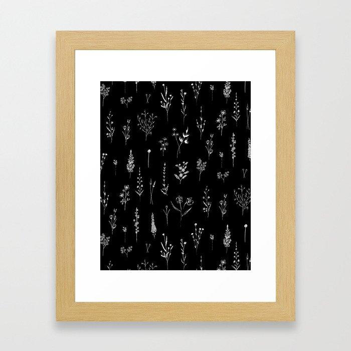 Black wildflowers Gerahmter Kunstdruck