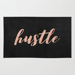 Hustle Rose Gold Pink on Black Rug
