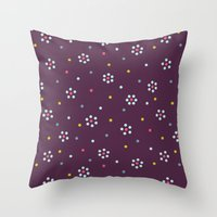 Floral Pattern In Purple And Dots Throw Pillow