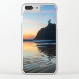 Ocean Dreams - Sunset Silhouette Along Ruby Beach in Washington Clear iPhone Case