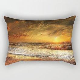 East Matunuck Beach Rhode Island Sunset Landscape Painting by Jeanpaul Ferro Rectangular Pillow