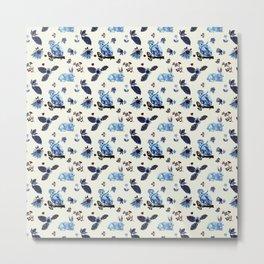 Flowers Rabbit Monkey Blue White Vintage Metal Print