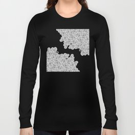Comtemporary Abstract Leaves Grey Pattern Long Sleeve T-shirt