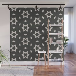 Black and white Stars Pattern Christmas Hollidays Wall Mural