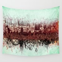 new york Wall Tapestries featuring New York New York by Bekim ART