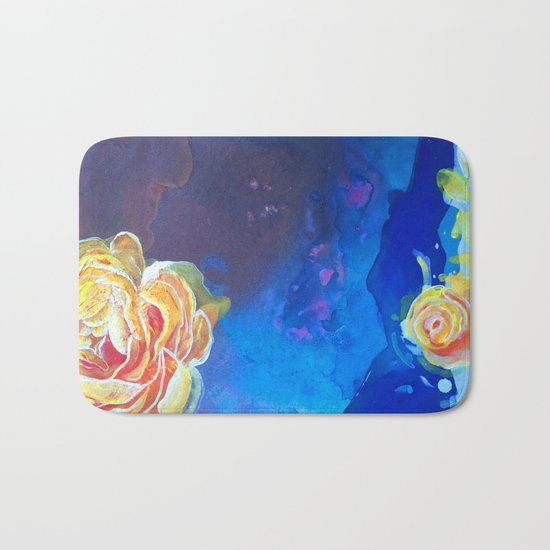 Mad Lucy's Golden Roses. Yellow Roses and Galaxy Blue. Bath Mat