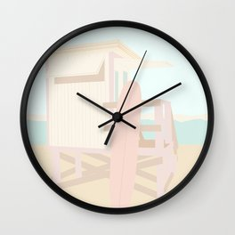 Beach Hut - Cream and Blush Wall Clock