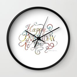 Lettering, Happy Birthday to you Wall Clock