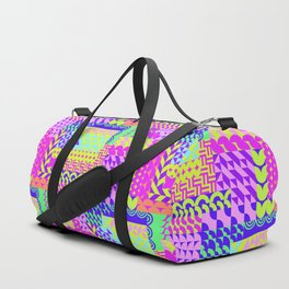 Colorful pink teal yellow abstract geometrical pattern Duffle Bag