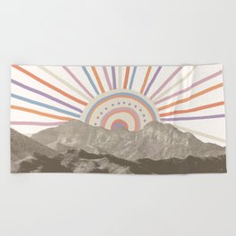 Summerlin Mountain // Abstract Vintage Mountains Summer Sun Vibe Drawing Happy Wall Hanging Beach Towel