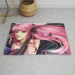 Anime manga girl with pink hair Rug
