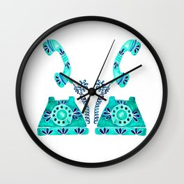 Vintage Rotary Phone – Turquoise Palette Wall Clock