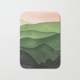 Watercolor layers of mountains Bath Mat