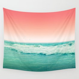 Aqua and Coral, 2 Wall Tapestry