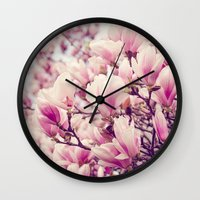 magnolia Wall Clocks featuring Magnolia by Juste Pixx Photography