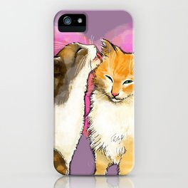 Cat licks a cat on the background of the heart iPhone Case