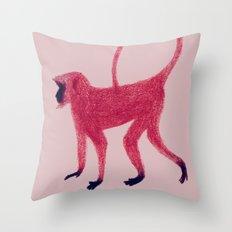 Red Monkey Throw Pillow