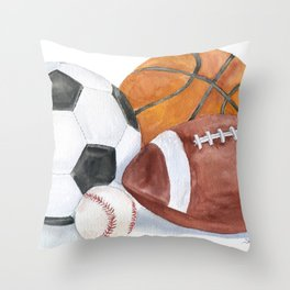 Sports Balls Watercolor Painting Throw Pillow