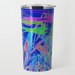 Bamboo Leaves Multycolor on Blue Board Travel Mug