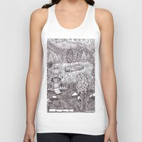 vermont Tank Tops featuring Zentangle Vermont Mountain Pond by Vermont Greetings