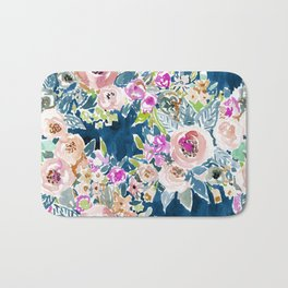 NAVY SO LUSCIOUS Colorful Watercolor Floral Bath Mat