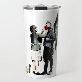 Banksy, Anarchist Punk And His Mother Artwork, Posters, Prints, Bags, Tshirts, Men, Women, Kids Travel Mug