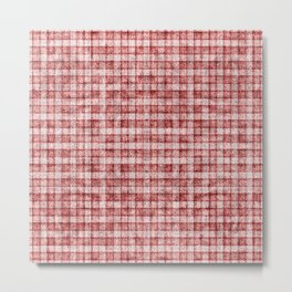 Dusty Pink Gingham Plaid Faux Suede Metal Print