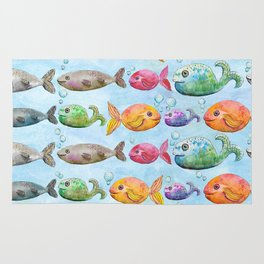 Against the flow - Colorful fish pattern painting Rug
