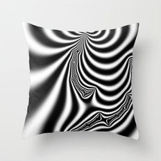 Black and White Fractal 7 Throw Pillow