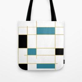 MidCentury Modern Art Aqua Gold Black Tote Bag